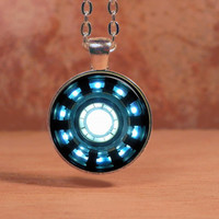 Iron Man, Tony Stark Arc Reactor inspired Glass Art Pendant Necklace