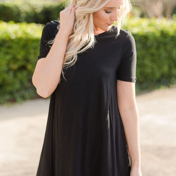 The Dove Short Sleeve Tunic In Black