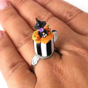 Miniature Halloween Cupcake in Mug Witch and Pumpkin ring with adjustable ring band, Miniature food jewelry, Halloween accessories