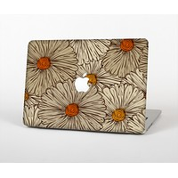 The Tan & Orange Tipped Flowers Pattern Skin Set for the Apple MacBook Air 11""