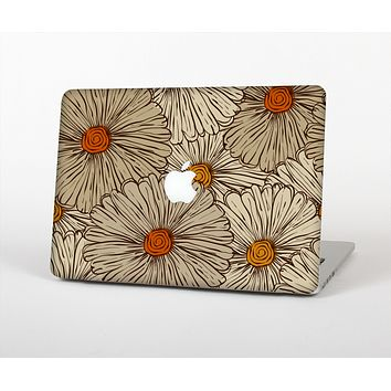 The Tan & Orange Tipped Flowers Pattern Skin for the Apple MacBook Air 13""