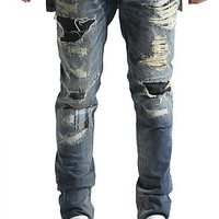 The Corniche Patchwork Distressed Denim in Blue Wash