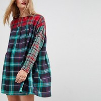 ASOS Smock Dress in Mixed Check at asos.com