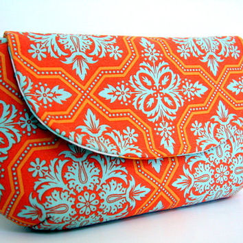 clutch in amber tile flourish by SassyStitchesbyLori on Etsy