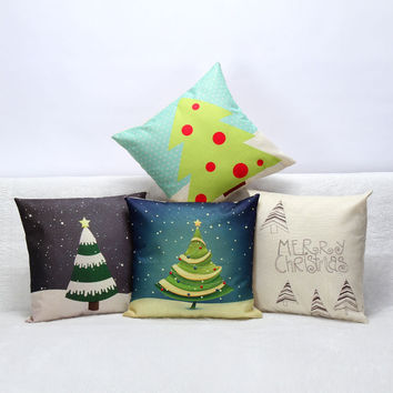 3D Decorative Christmas Tree Cotton Pillow Covers Luxury Home Seat Chair Bed Throw Pillow Case