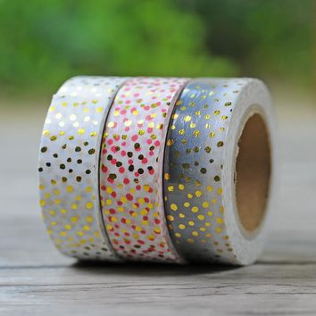 1.5 CM *10 M Polka Dot Gold Foil Japanese Washi Tape Scrapbooking Tools Papelaria Decorative Masking Tape