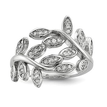 Sterling Silver Wrapped Leaves CZ Ring