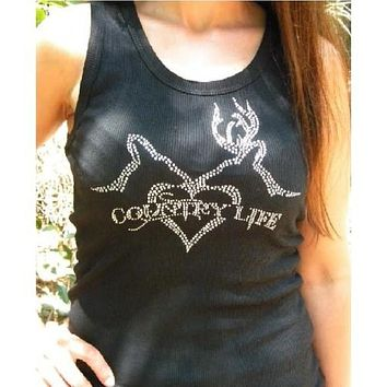 Country Life Outfitters Black Rhinestone Deer Kiss Hunt Vintage Bright Fitted Tank Top Shirt