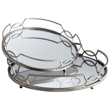 Lady Anne Mirrored Round Decorative Serving Trays, Set of 2 by Cyan Design