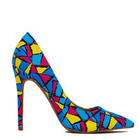 Textured Abstract Print Turquoise Pumps
