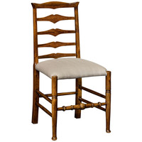 Country Walnut Ladder Back Side Chair
