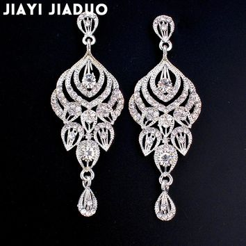 jiayijiaudo Clear Crystal Long Earrings for Women Elegant Vase Shape Wedding Earrings Fashion Jewelry 2018