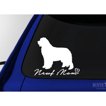 Newf Mom, Newfoundland Dog Window Decal Sticker