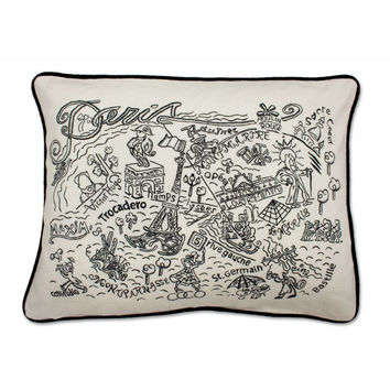 Paris Black and White Embroidered Pillow