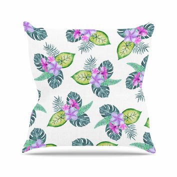 "Sylvia Cook ""Tropical Flowers"" Green Pink Floral Nature Watercolor Digital Outdoor Throw Pillow"