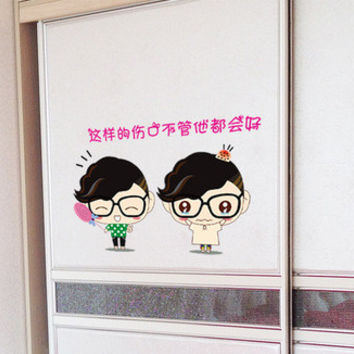 Can remove the wall stickers Cute cartoon dolls The bathroom kitchen restaurant adornment of Eva SM6