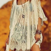 White Cut Out Shoulder Sheer Lace Shift Dress - Choies.com