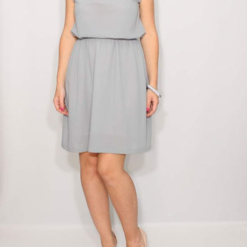 Light gray Dress Short Bridesmaid Dress Chiffon Dress Keyhole dress