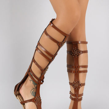 Perforated Studs Strappy Gladiator Knee High Flat Sandals