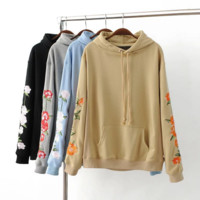Free size long sleeve Sweater flower embroidery Pullover top women