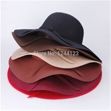 Fashion Vintage Retro Wool Felt Crushable Wide Brim Cloche Fedora Floppy Sun Beach Hat Goth Bowknot