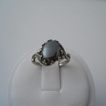 Sterling Silver 925 Hematite Ring Size 4.5 Prong Set Hematite Sterling MW