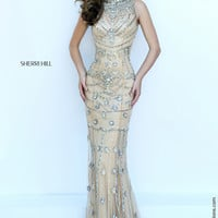 Sherri Hill 50239 Halter Fully Beaded Floor Length Prom Dress – Off White by Bridal Expressions