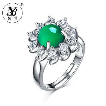 YB Natural Green Chalcedony Flower Ring Natural Stone Adjustable Ring Mother Gift 925 Sterling Silver Fine Jewelry Women