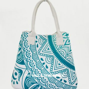Green Glowing Spirit Boho Beach Mandala Bag for Women on RoyalFurnish.com