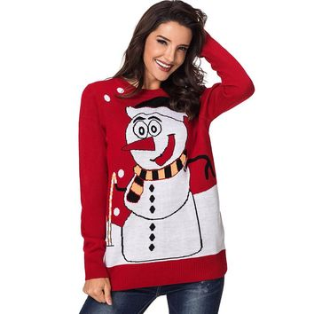 2018 Winter Red Ugly Christmas Sweater Female Clothing Snowman Fashion Cute santa Sweaters Fashion Women Pullovers Sale