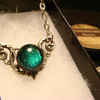 Victorian Style Green Dichroic Fused Glass Necklace in Antique Silver (1784)