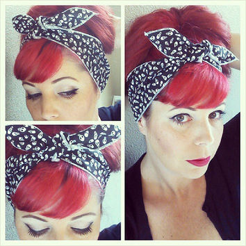 Teeny Skulls on black one sided WIDE Headwrap Bandana Hair Bow Tie 1950s Vintage Style - Rockabilly - Pin Up - For Women, Teens