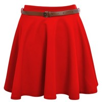Ditzy Fashion Women's Belted Skater Flared Plain Mini Party Skirt, Red S/M