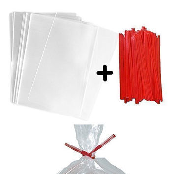 "100 4x6"" Clear Food Safe Favor Treat Bags and 100 4"" Paper Red Twist Ties - 1.5mils Thickness- PP Plastic Stronger than Cello Party Bags Gift Basket Supplies"