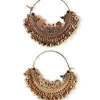 Etched Ball-Fringe Hoop Earrings