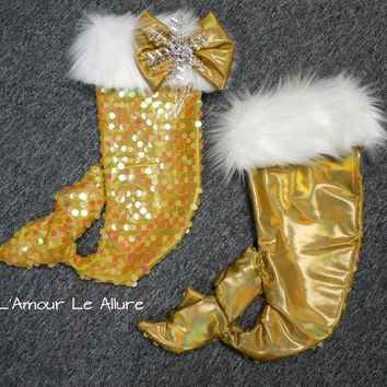 Rhinestone Snowflake Sequin Mermaid Tail Christmas Holiday Stocking Gift