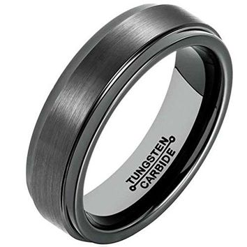 6mm Black Tungsten Carbide Ring Simple Style Wedding Jewelry Engagement Promise Band