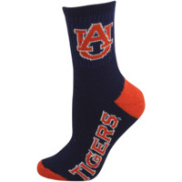 Auburn Tigers Ladies Navy Blue-Orange Dual-Color Team Logo Crew Socks