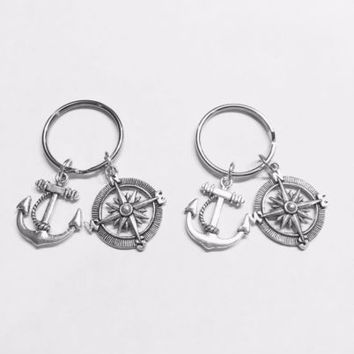 2 Keychains Anchor Compass BFF Best Friend Sisters Forever Couples Set