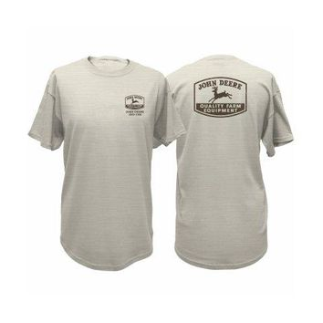 John Deere 13281044OM04 Men's T-Shirt w/John Deere Trademark, Oatmeal, Medium