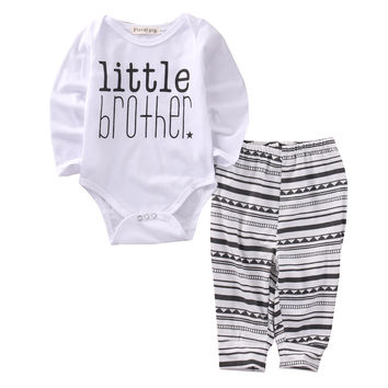 Fashion Kids Letter T-shirt Baby Boy Print 2pcs Outfits Toddler Geometric Pants Infant Striped Clothes Baby Girl White Bodysuit
