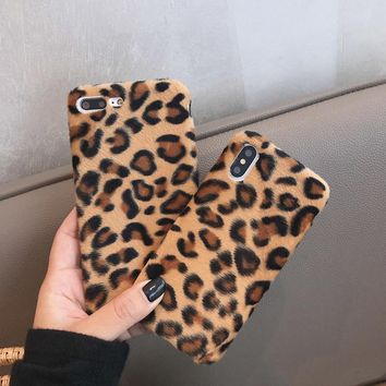 Fashion Leopard Wool Phone Case For iphone XS Max Case For iphone XR X 6 6S 8 7 plus Luxury Warm Fuzzy Back Cover Soft Cases