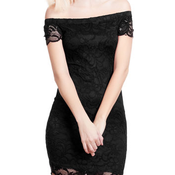 LE3NO Womens Fitted Floral Lace Off Shoulder Bodycon Mini Dress