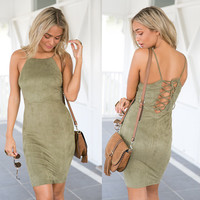 Summer Women's Fashion Green Slim One Piece Dress [7767311623]