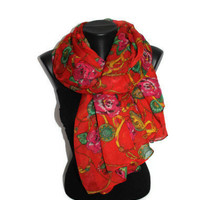 Roses & Chain Scarf - Red Floral Scarf - Fashion Scarf - Unique Shawl - Pareo - Trendy Fabric Scarf - Spring Trends - Gift Idea
