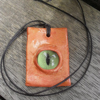 Eye Pendant Gothic Green Eye Necklace Fantasy Handcrafted FREE SHIPPING