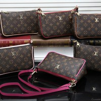 """Louis Vuitton""Women Casual Fashion Logo Letter Zip Metal Chain Single Shoulder Messenger Bag"