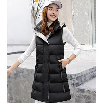 Womens Classic Black High Collar Hooded Puffer Winter Vest
