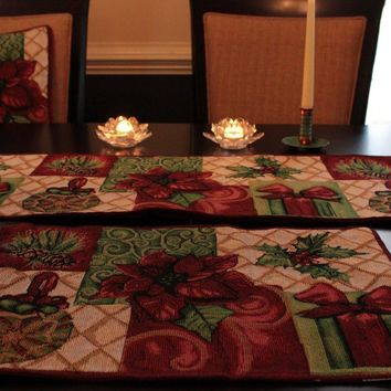 8 Piece Christmas Tidings Table Set, 2 Table Runners, 2 Cushion Covers, and 4 Placemats
