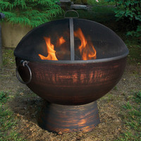 """26"""" Wrought Iron Fire Bowl with Spark Screen"""